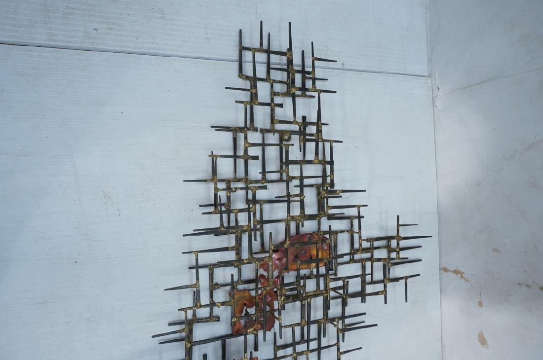 Lg Brutalist Welded Nail & Copper Wall Sculpture. - 7