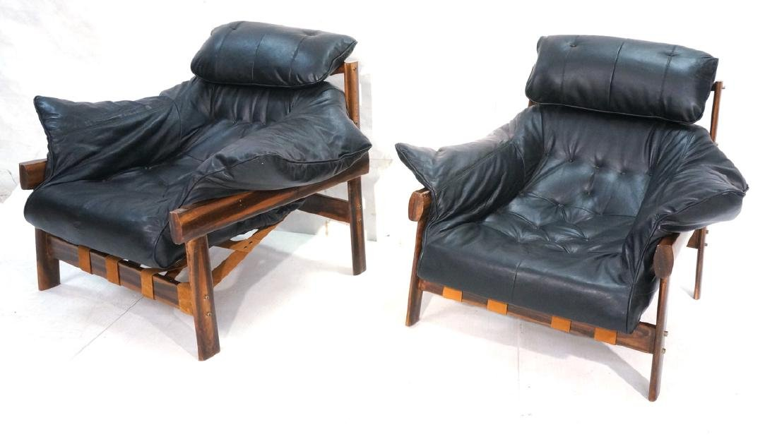 Pr LAFER Style Modern Wood Frame Lounge Chairs. B