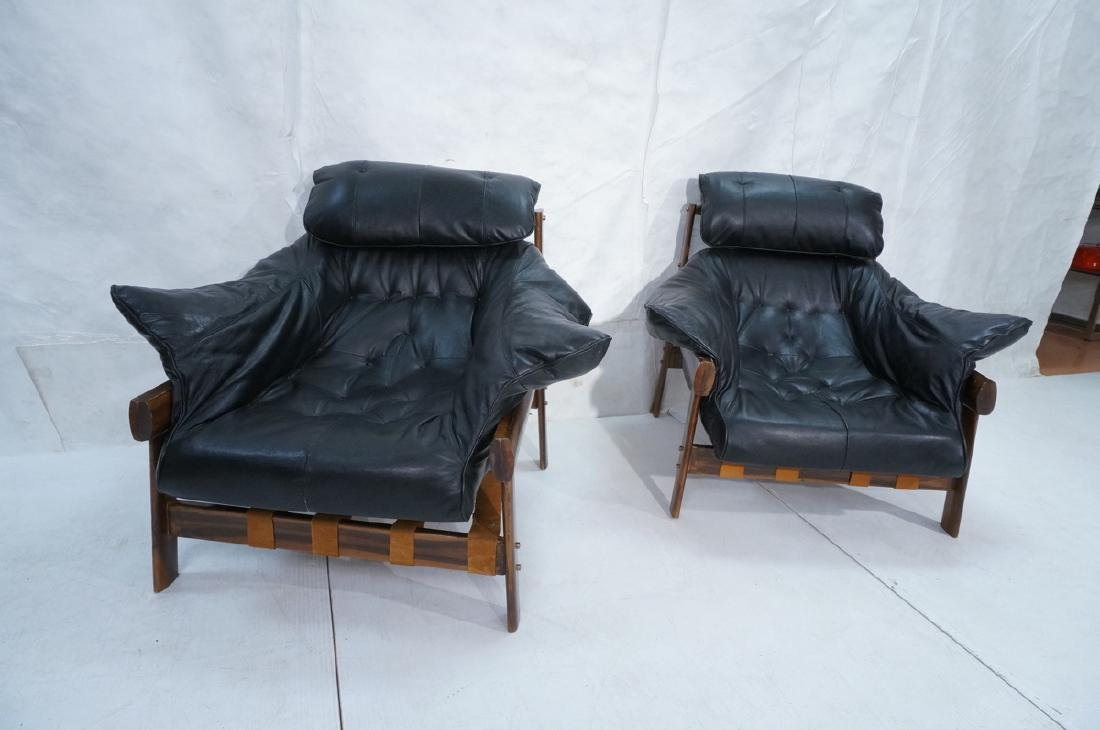 Pr LAFER Style Modern Wood Frame Lounge Chairs. B - 2