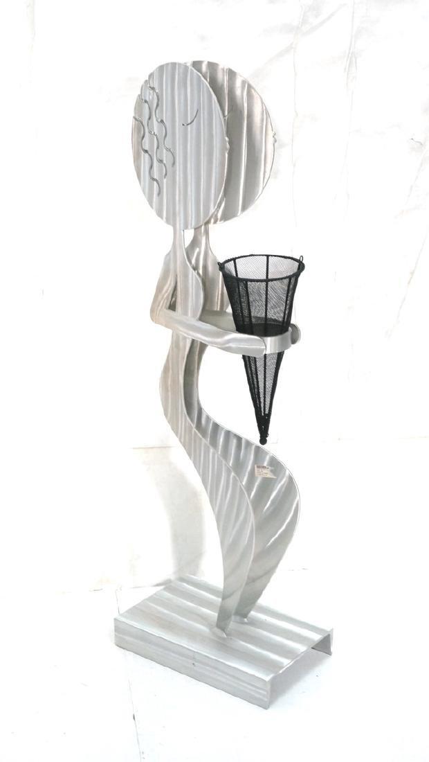 Signed FRED GARBOTZ Aluminum Figural Floor Sculpt