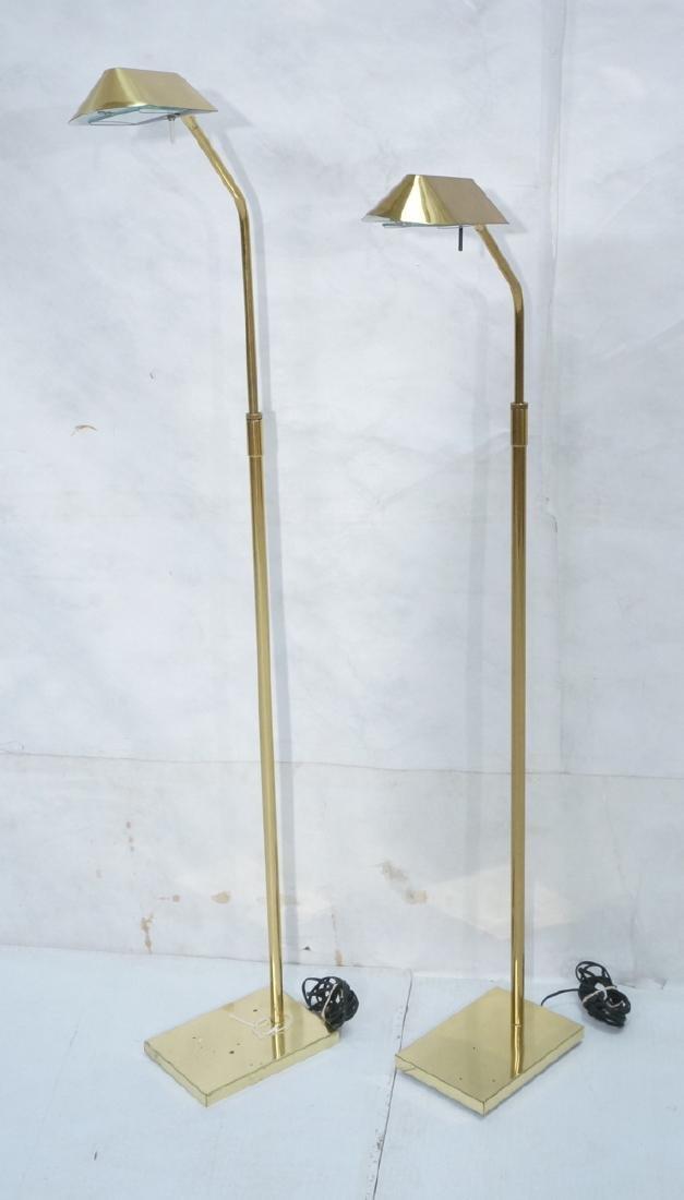 Pr KOVACS Modern Brass Adjustable Floor Lamps. Br