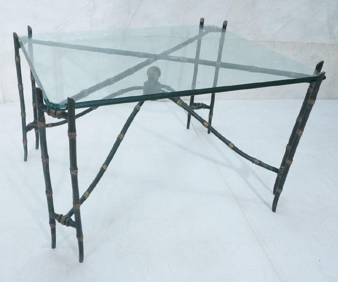 Decorator Faux Bamboo Bronze Glass Side Table. Un