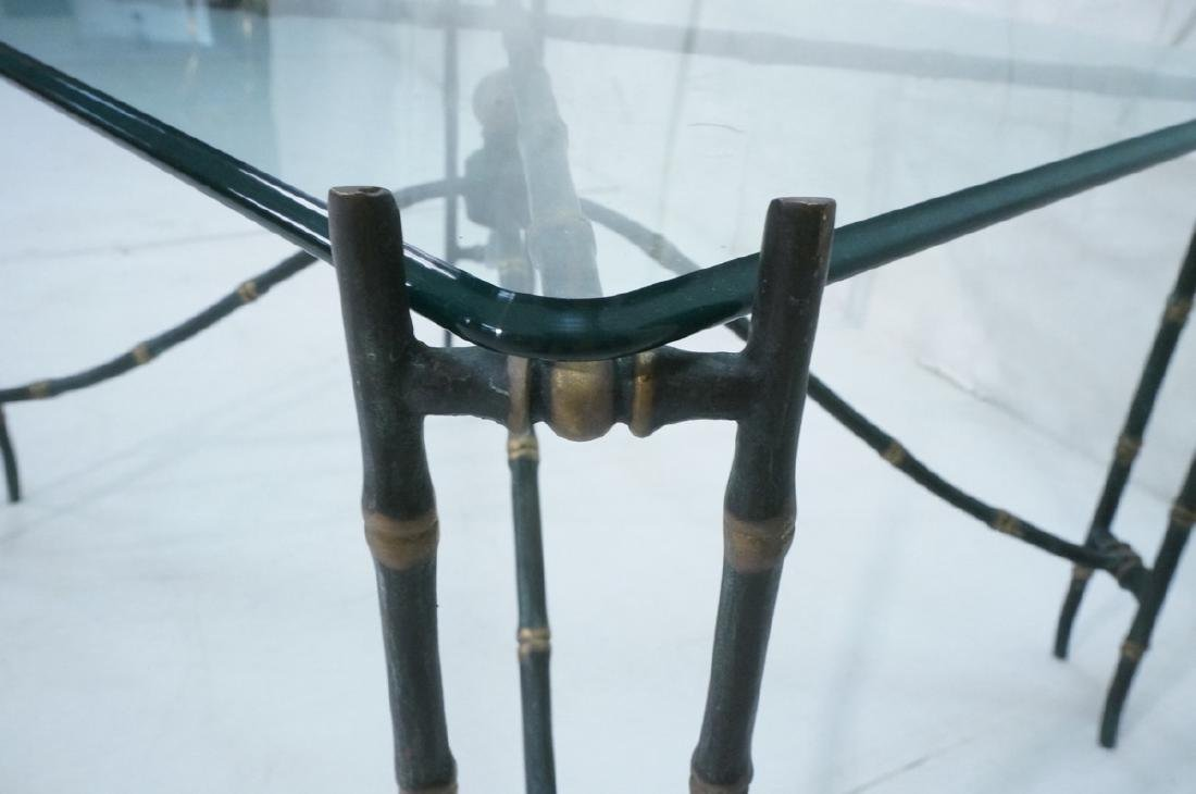 Decorator Faux Bamboo Bronze Glass Side Table. Un - 4