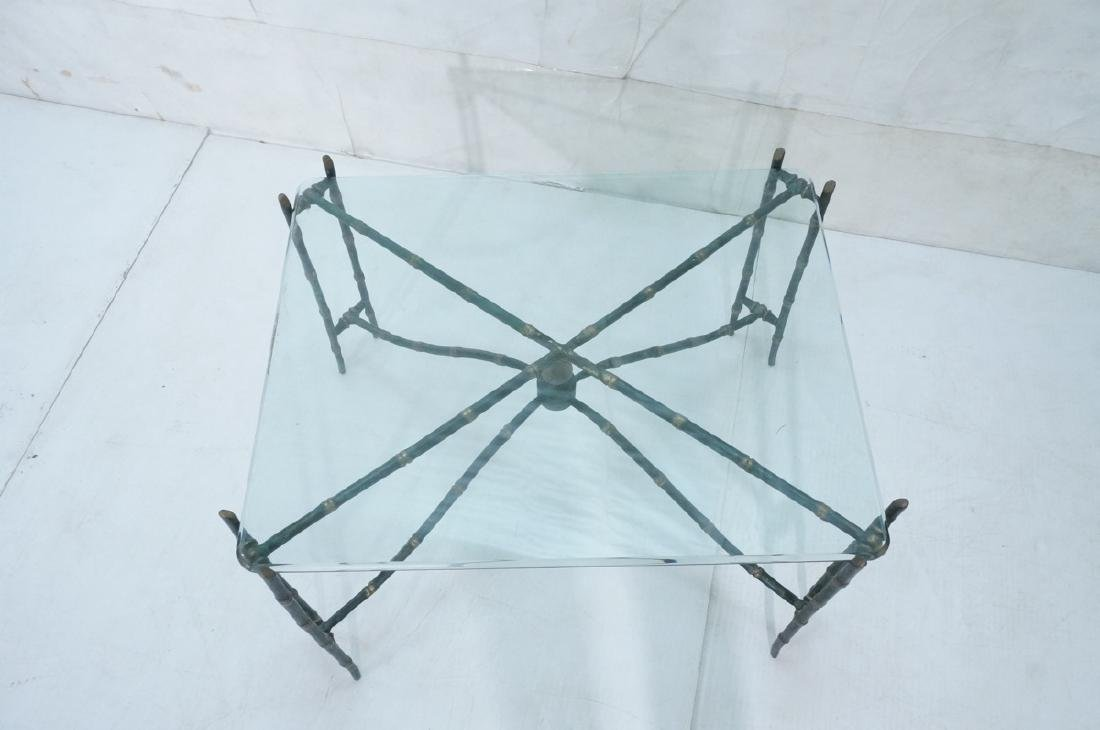 Decorator Faux Bamboo Bronze Glass Side Table. Un - 7