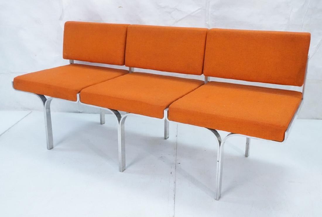John Behringer Six leg Bench. Orange Upholstered