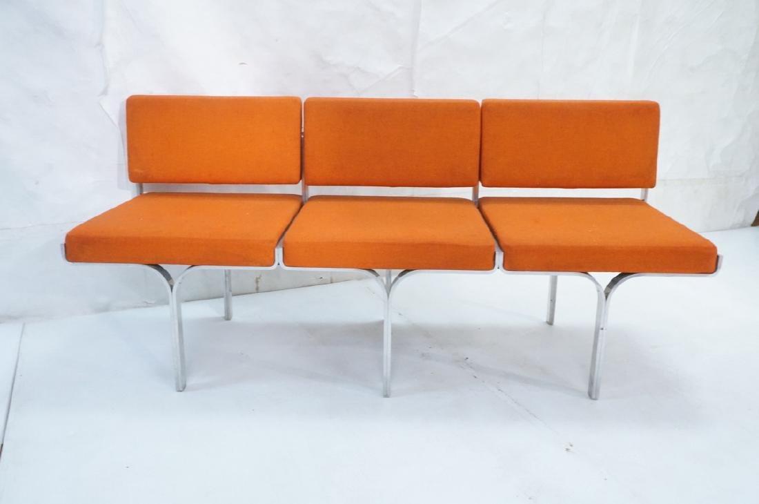 John Behringer Six leg Bench. Orange Upholstered - 2