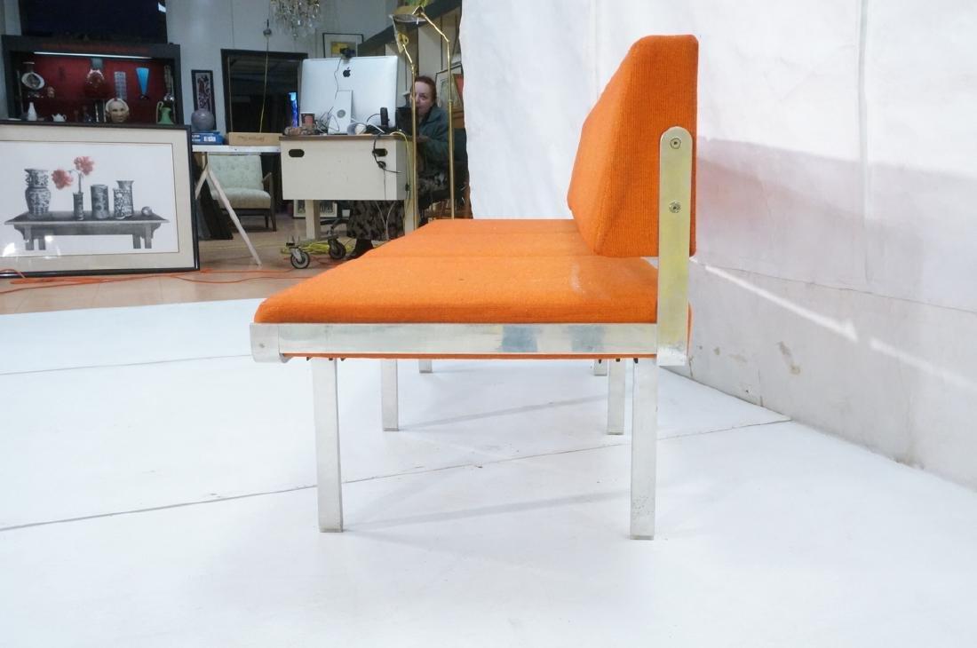 John Behringer Six leg Bench. Orange Upholstered - 3