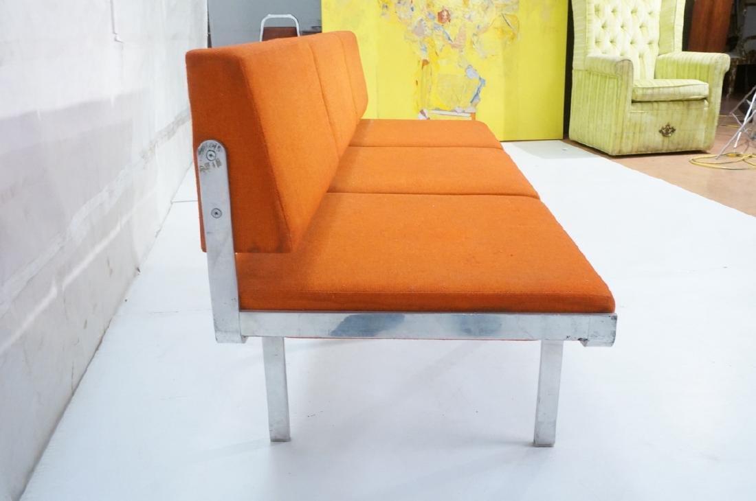 John Behringer Six leg Bench. Orange Upholstered - 4