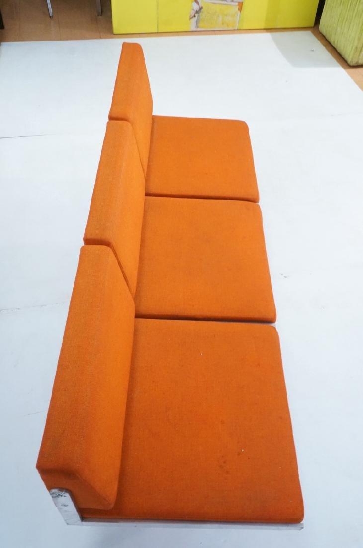 John Behringer Six leg Bench. Orange Upholstered - 5