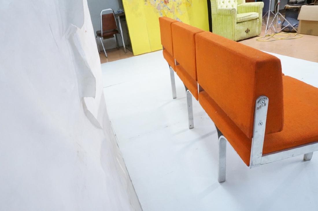 John Behringer Six leg Bench. Orange Upholstered - 6