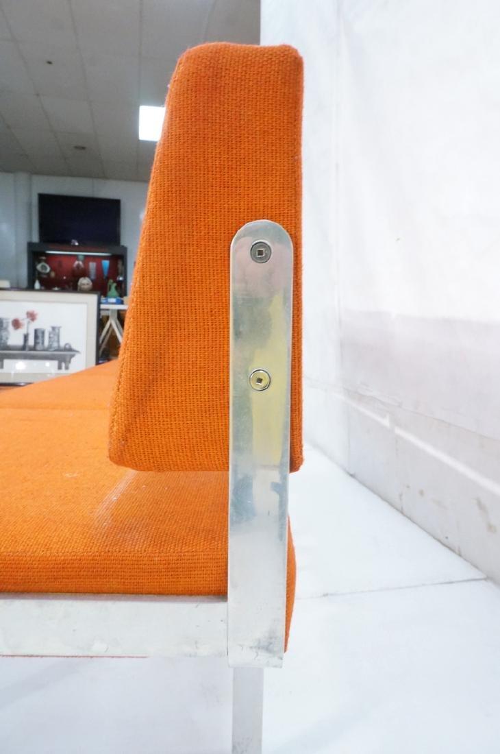 John Behringer Six leg Bench. Orange Upholstered - 7