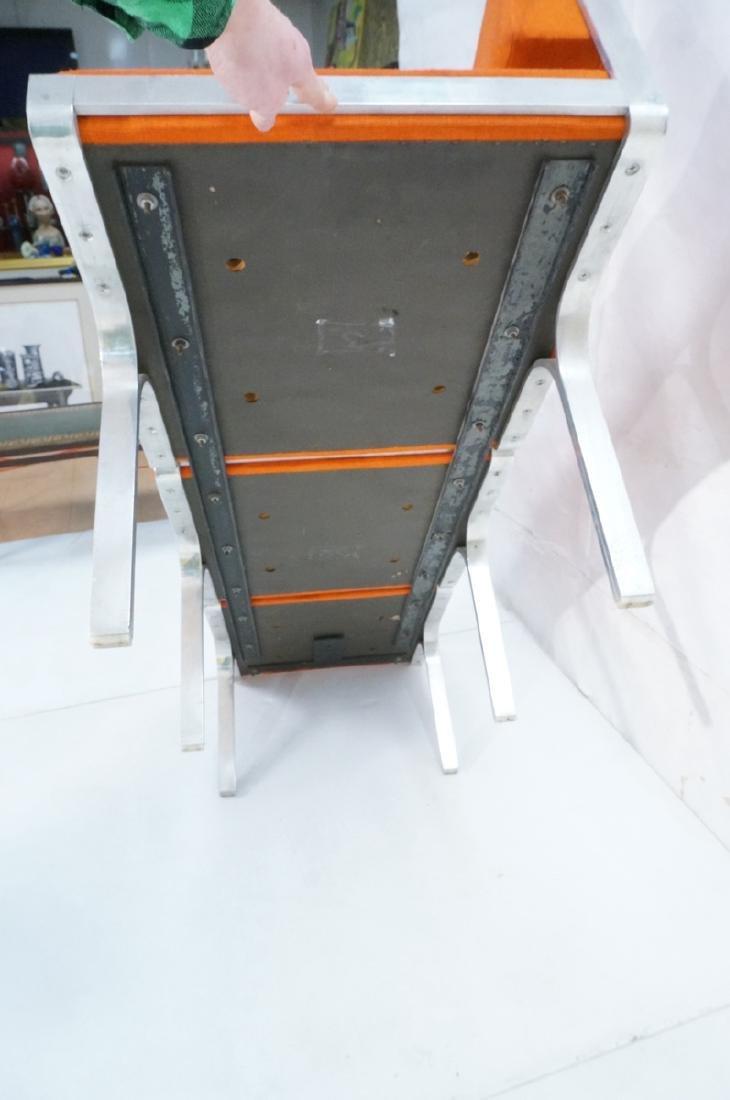 John Behringer Six leg Bench. Orange Upholstered - 8