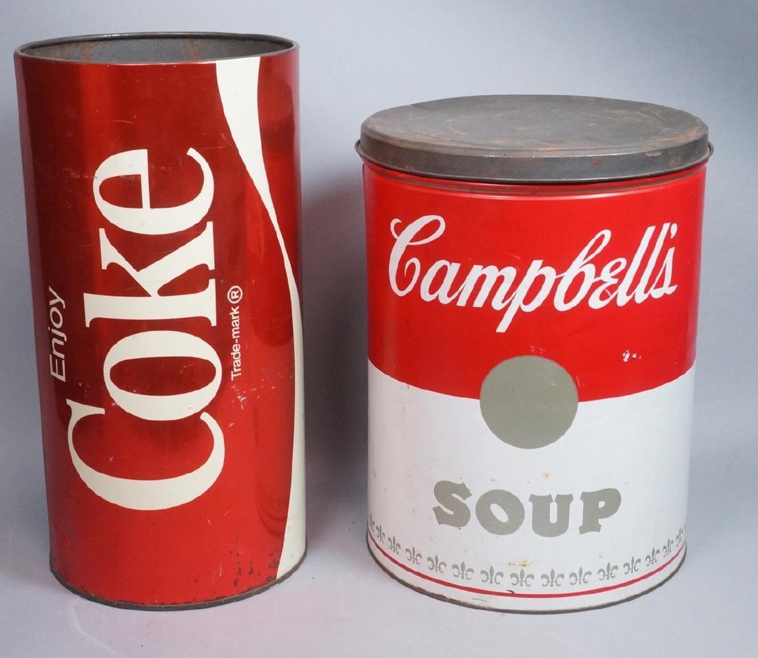 2 70s Modern Metal Advertising Tins. Warhol Style