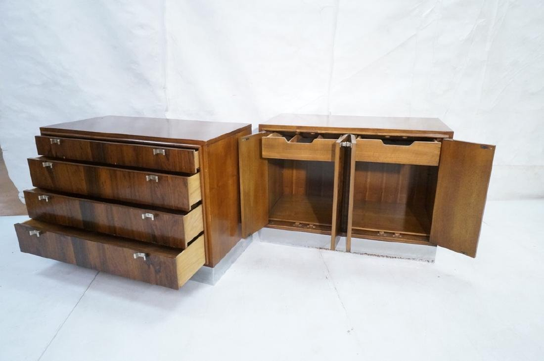 2pc Modern Rosewood Cabinets Dressers. 4 drawer b - 8