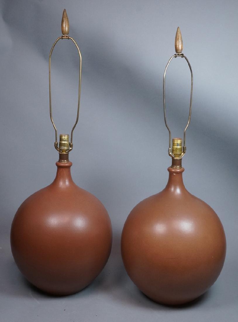 Pr Lg Bulbous Brown Glaze Ceramic Lamps. Dramatic