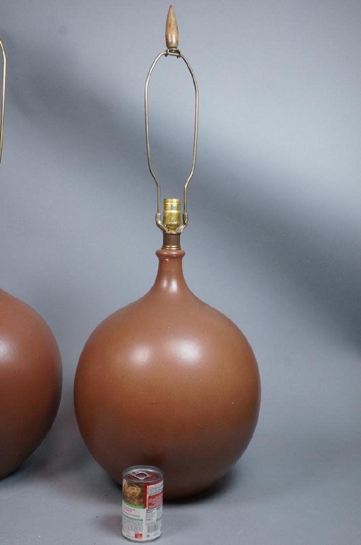 Pr Lg Bulbous Brown Glaze Ceramic Lamps. Dramatic - 2