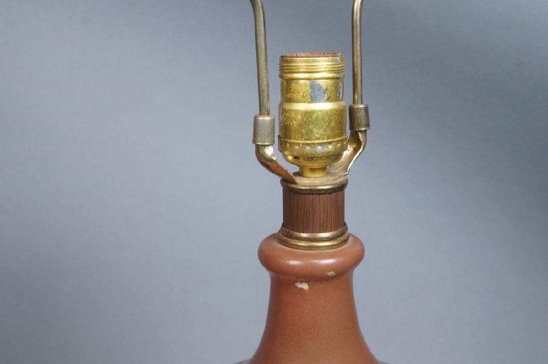 Pr Lg Bulbous Brown Glaze Ceramic Lamps. Dramatic - 5