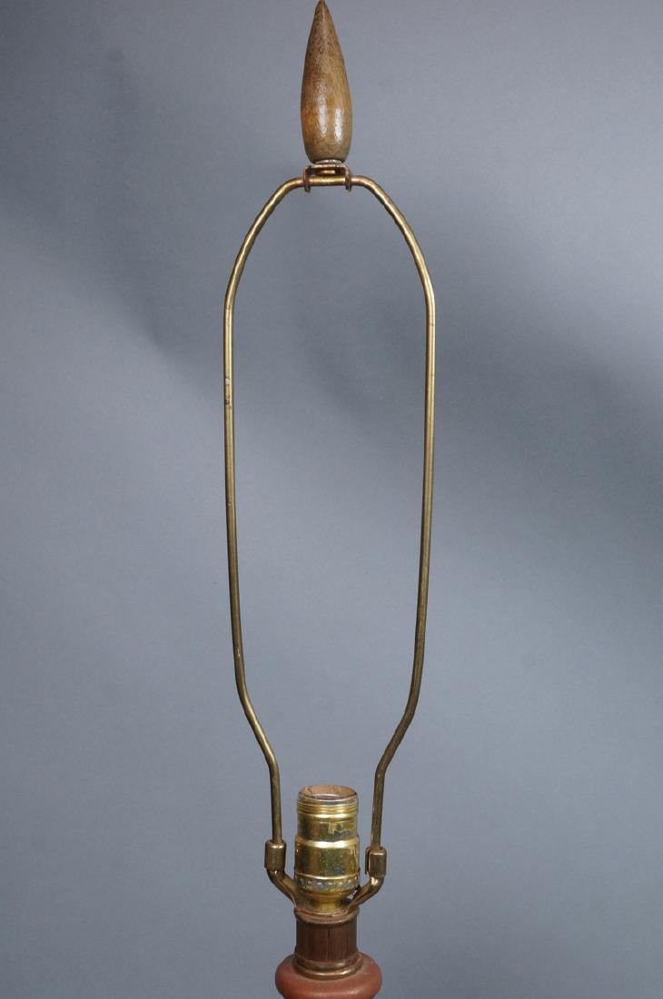 Pr Lg Bulbous Brown Glaze Ceramic Lamps. Dramatic - 9