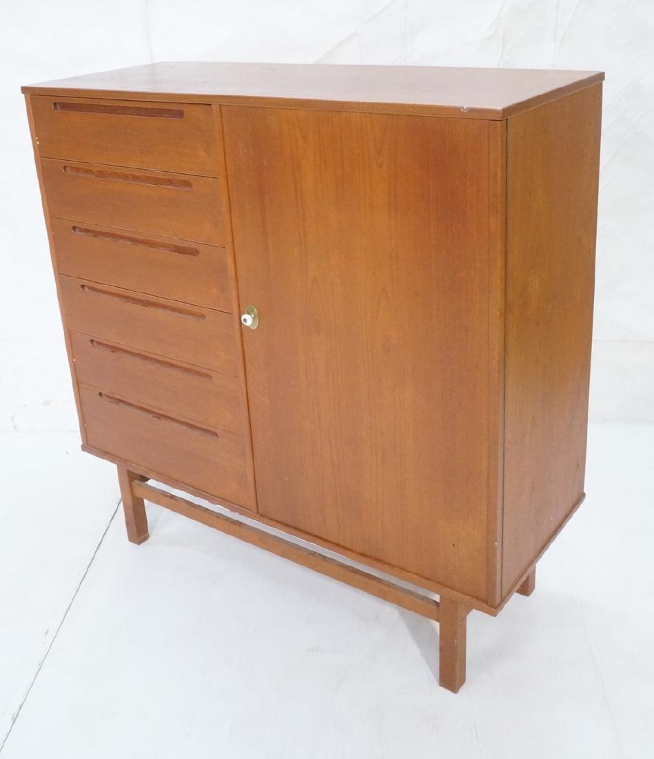 Danish Modern Teak Tall Chest Dresser. One door c