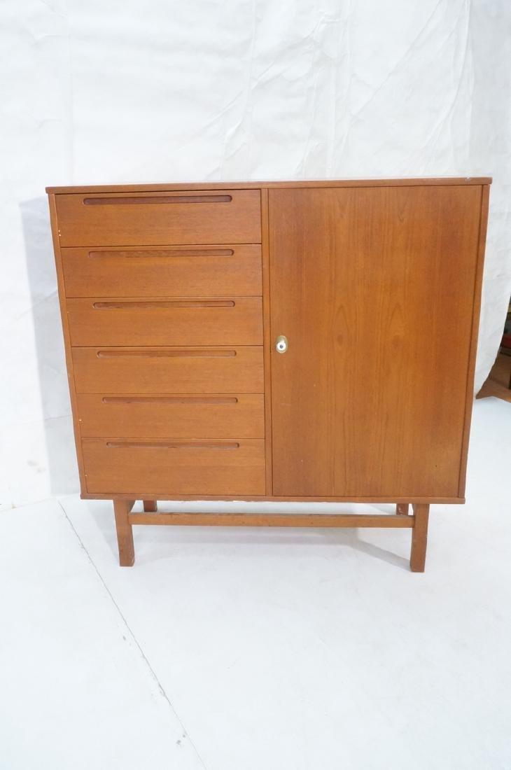 Danish Modern Teak Tall Chest Dresser. One door c - 2