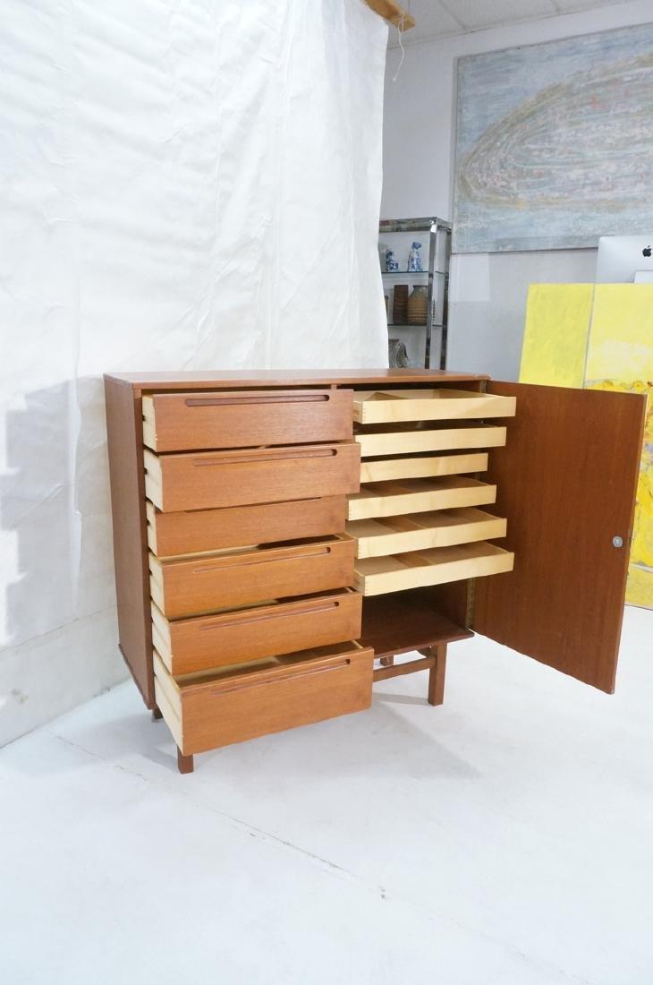 Danish Modern Teak Tall Chest Dresser. One door c - 6