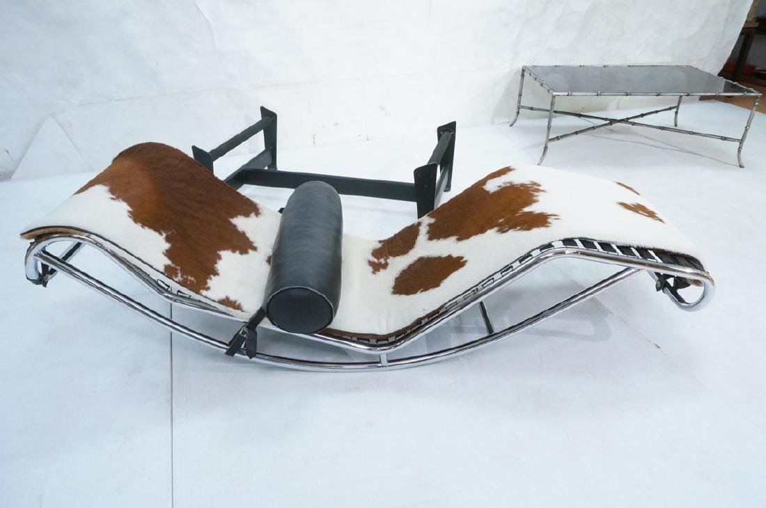 LE CORBUSIER Pony Skin Hide Chaise Lounge. Tubula - 8