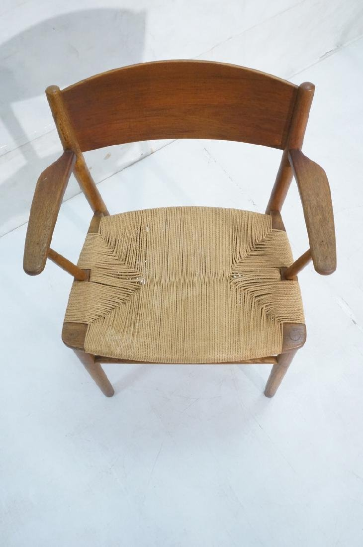 Borge Mogensen Rush Seat Modern Arm Chair. Bowed - 3