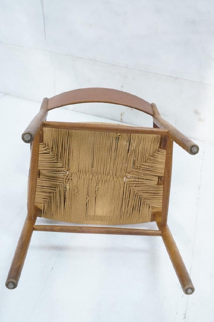 Borge Mogensen Rush Seat Modern Arm Chair. Bowed - 7