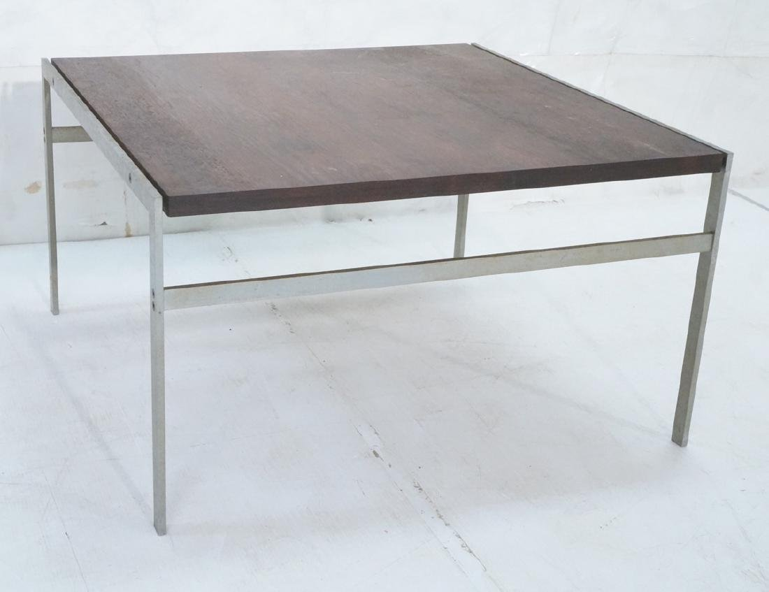 """Modern Rosewood Steel Square Cocktail Table. 1"""" t"""