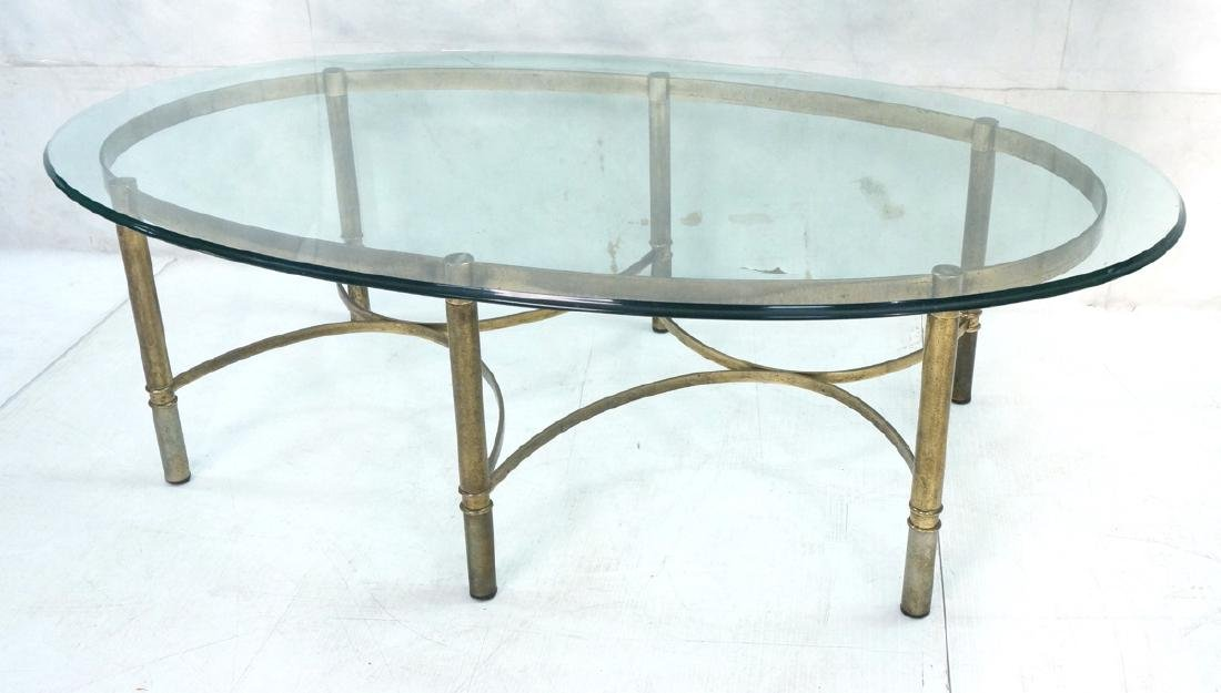 Decorator Oval Glass Brass Tone Coffee Table Beve