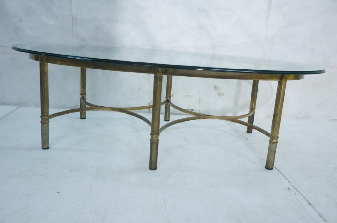 Decorator Oval Glass Brass Tone Coffee Table Beve - 2