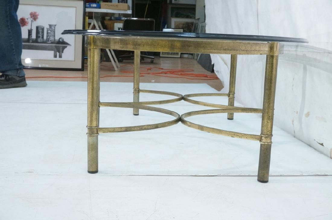 Decorator Oval Glass Brass Tone Coffee Table Beve - 3