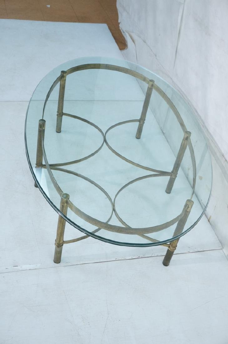 Decorator Oval Glass Brass Tone Coffee Table Beve - 4