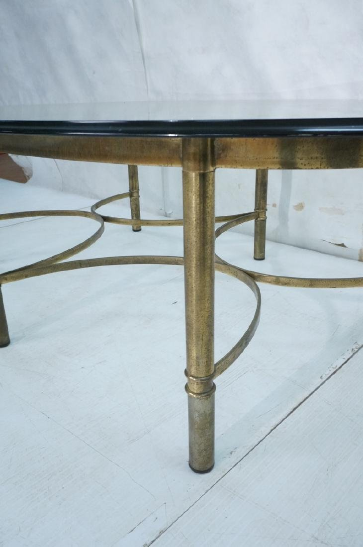 Decorator Oval Glass Brass Tone Coffee Table Beve - 5