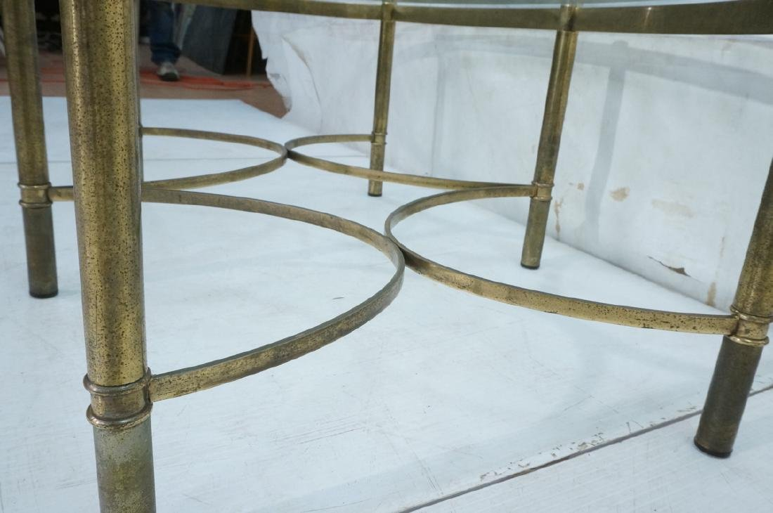 Decorator Oval Glass Brass Tone Coffee Table Beve - 6