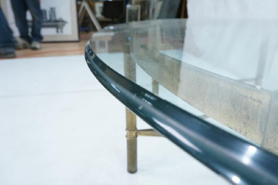 Decorator Oval Glass Brass Tone Coffee Table Beve - 7