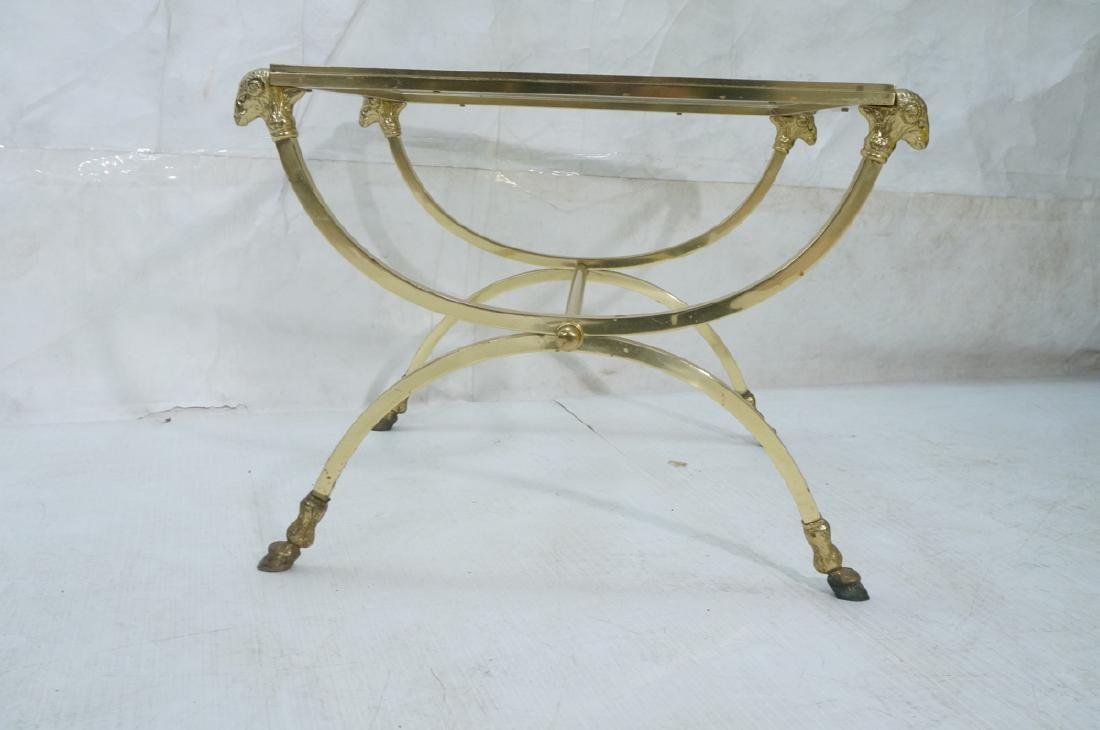 Regency Style Brass Glass Square Side Table. Ram - 2