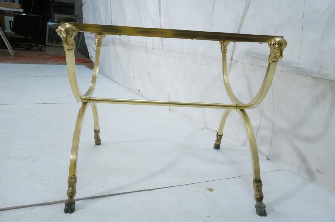 Regency Style Brass Glass Square Side Table. Ram - 3
