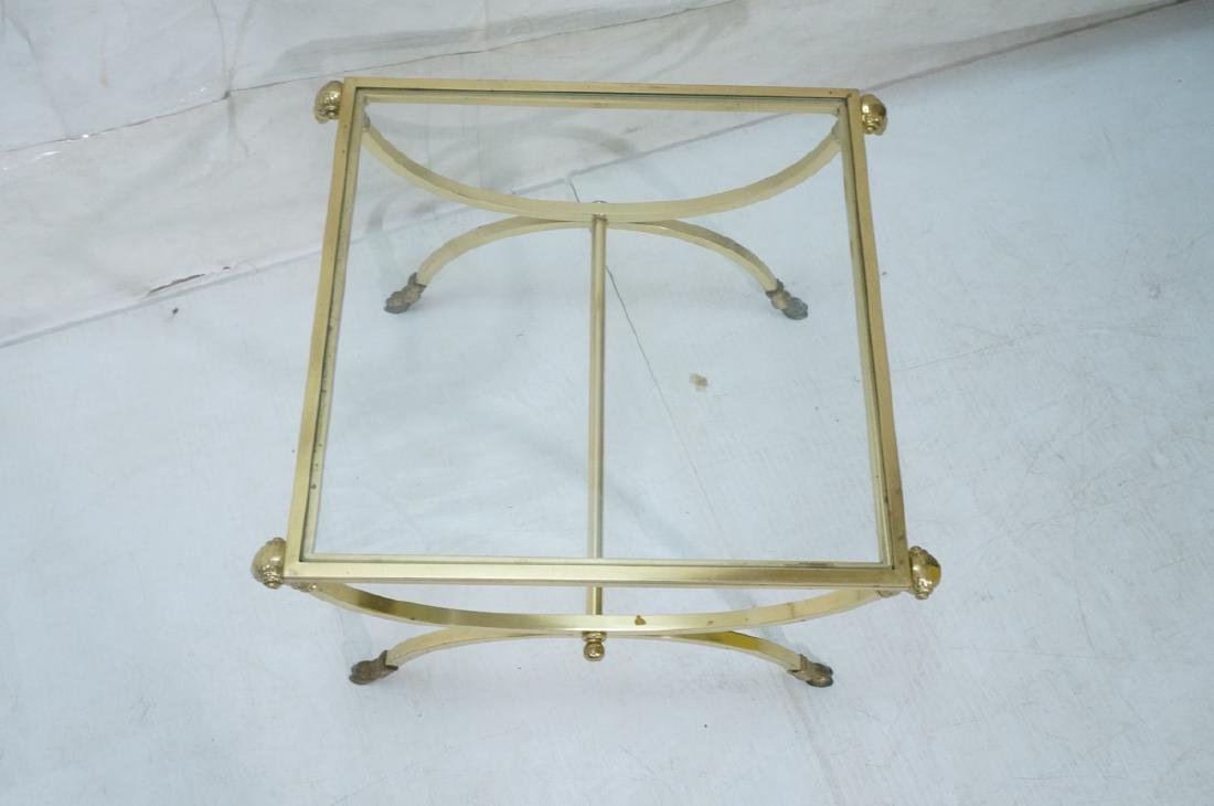 Regency Style Brass Glass Square Side Table. Ram - 4
