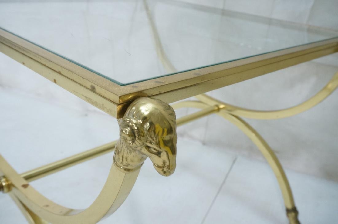 Regency Style Brass Glass Square Side Table. Ram - 5