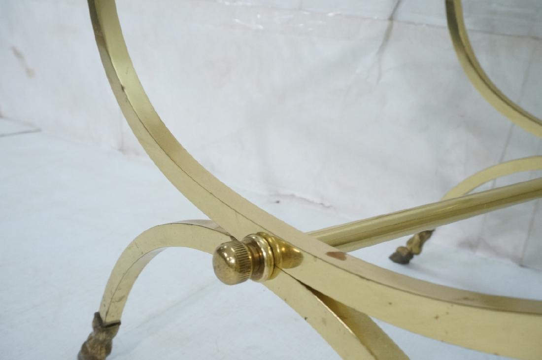 Regency Style Brass Glass Square Side Table. Ram - 7