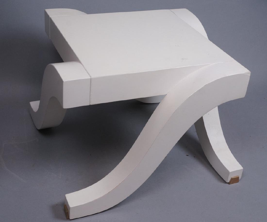 "Small BAKER White Low Side Table. Stylish ""S"" for"