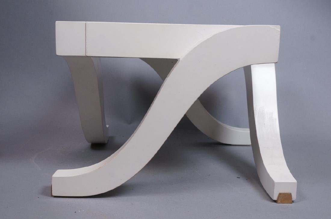 "Small BAKER White Low Side Table. Stylish ""S"" for - 2"