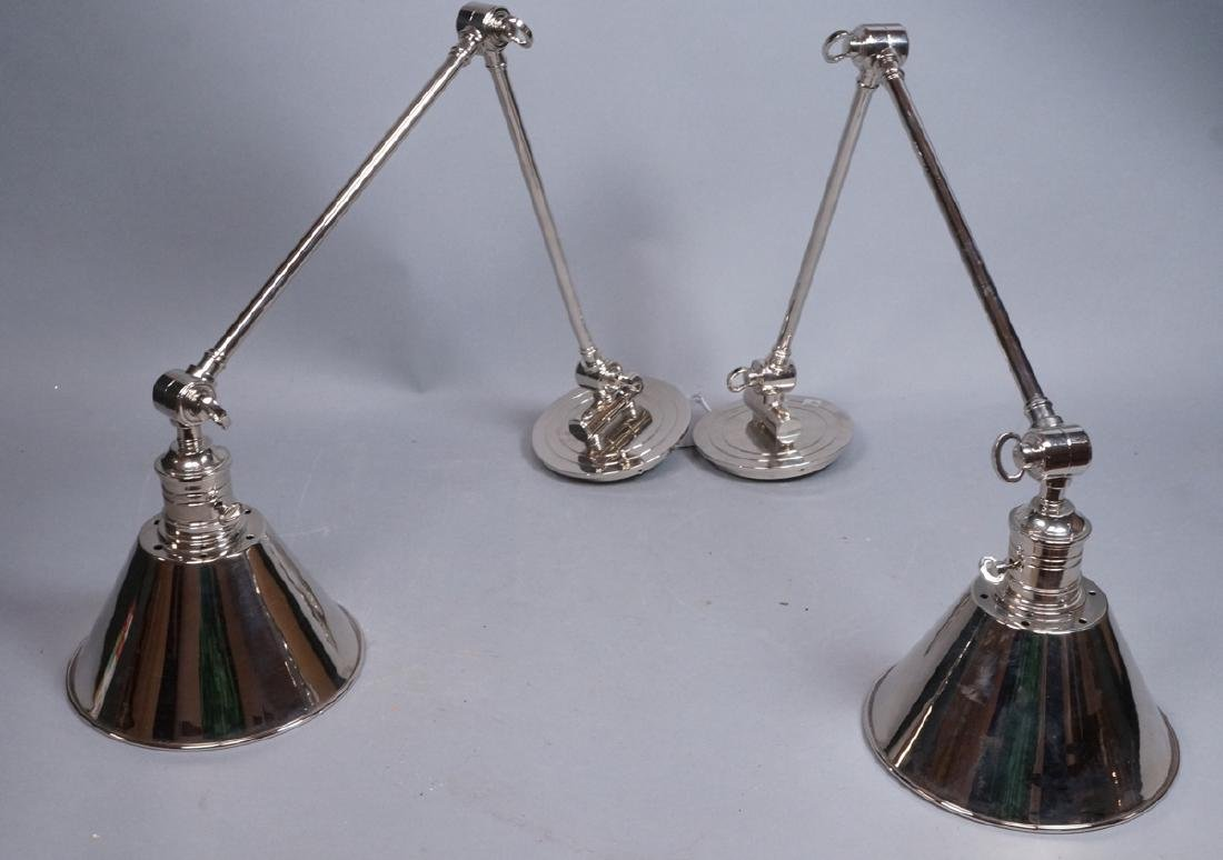 Pr Chrome Plated Wall Mounted Lamp Lights. Cone F