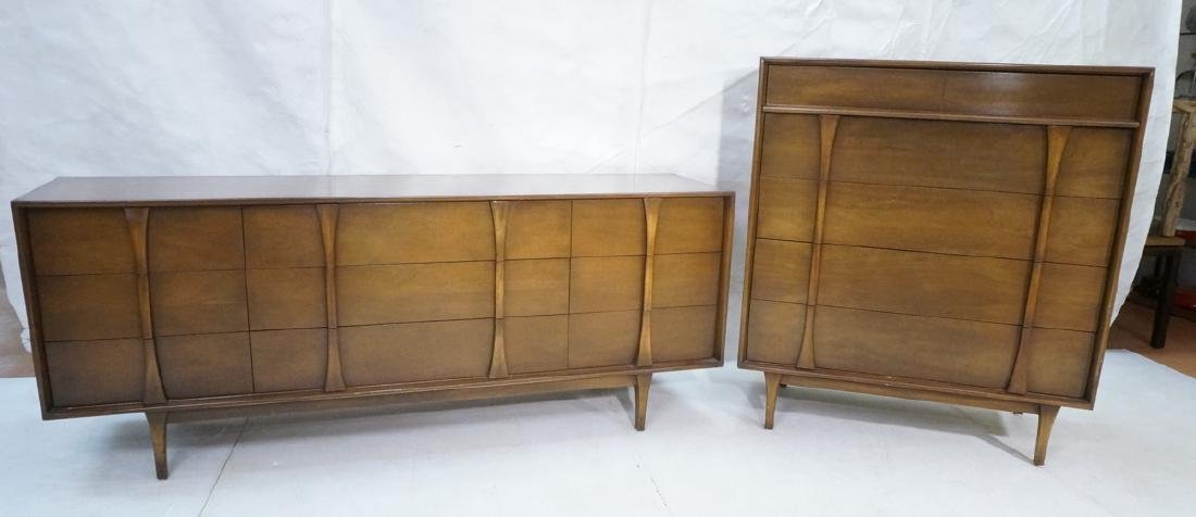 2pc American Modern Walnut bedroom set. Long cred