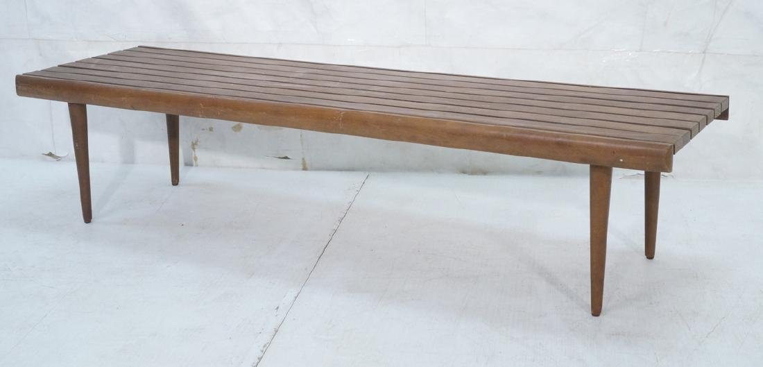 Modern Wood Slat Bench Coffee Table. Tapered peg