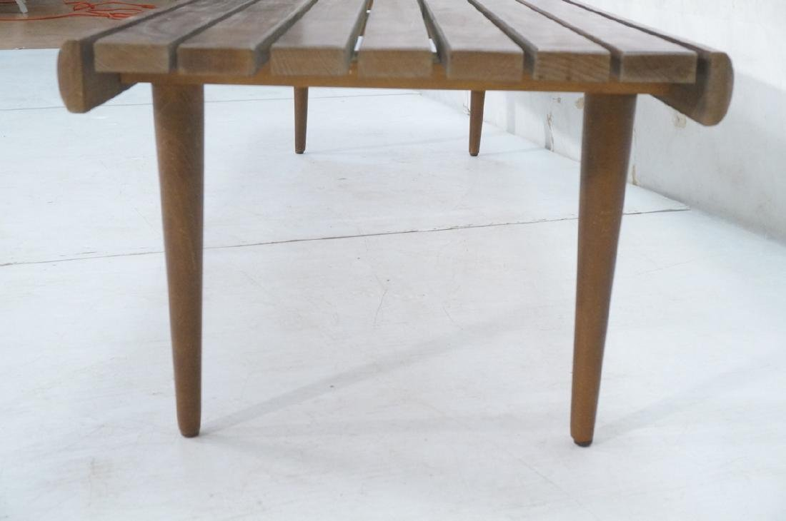 Modern Wood Slat Bench Coffee Table. Tapered peg - 4