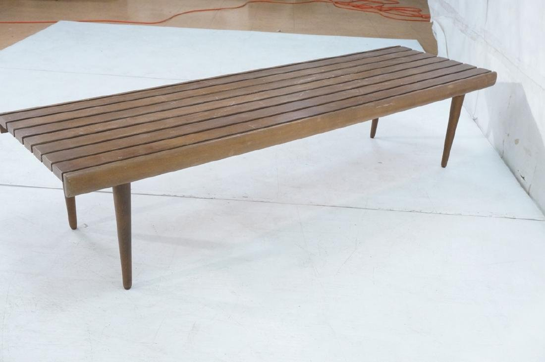 Modern Wood Slat Bench Coffee Table. Tapered peg - 6