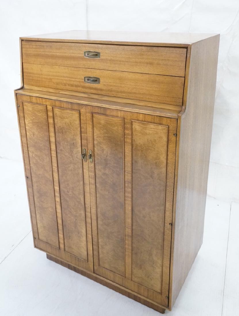 Modern DREXEL Burl Wood Cabinet Dresser. Metal pu