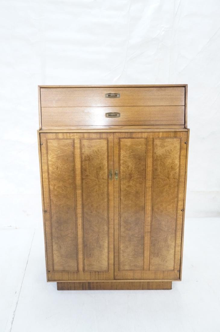 Modern DREXEL Burl Wood Cabinet Dresser. Metal pu - 2
